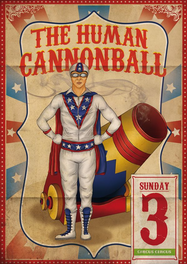 28 best Vintage Circus, Sideshow Banners & Posters images ... |Human Cannonball Circus Poster