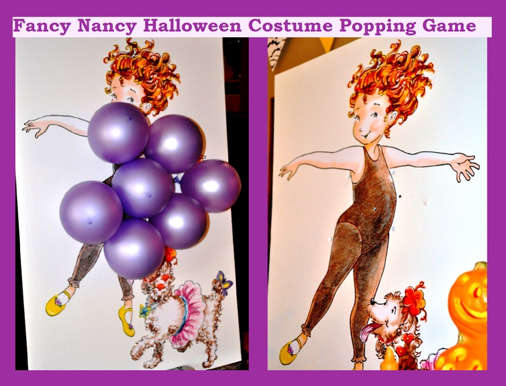 Made by my talented Aunt Shauna. In the Fancy Nancy Halloween book Fancy Nancy dresses as grapes and as the book progresses her balloons pop one by one. We had pin and let each child take turns popping a balloon. Each balloon was filled with something fun they had to do.. i.e. sing favorite song or hop on one foot. It turned out to be so fun and the little girls love all things Fancy Nancy of course!!!