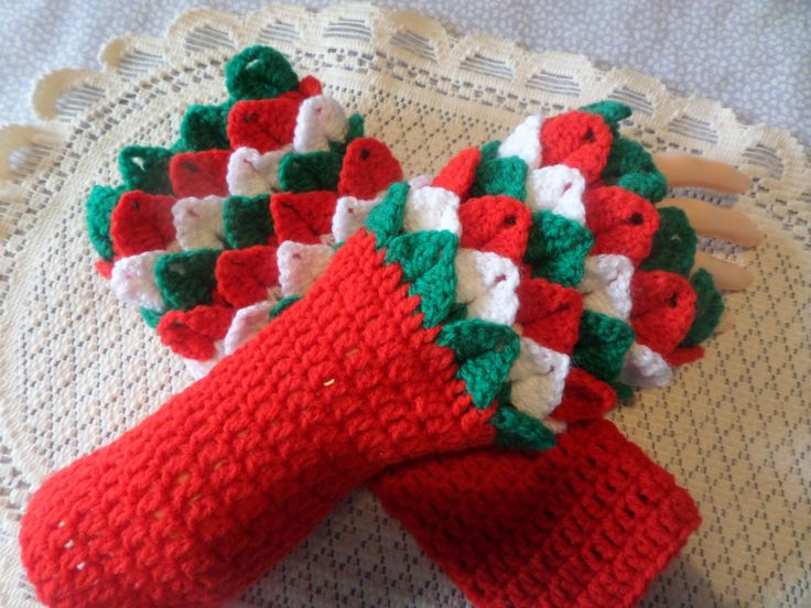 fingerless gloves, dragon claw mitts, Welsh dragon gloves,   fingerless mittens,  crocodile stitch, winter gloves,  hand crochet by MaddisonsRainbow on Etsy