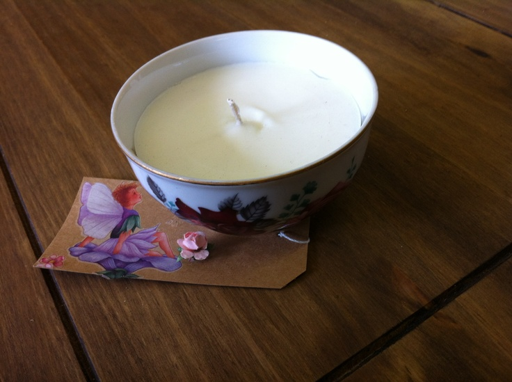 Hand-made candle. This one's in a sugar bowl. The clever thing here is that you can keep the bowl when the candle's gone. You can put pot pourri in it, or even sugar.