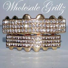 REAL ICY! NEW 14k Gold Plated ICED OUT TEETH GRILLZ Mouth Grill TOP & BOTTOM SET
