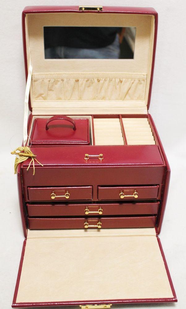 Wolf Design 340004 Jewelry Box Locking Storage Travel Case Red Leather Lock