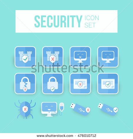 Internet Security icons. IT security icons set using blue color can be used on…