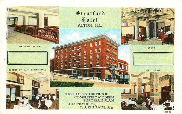 STRATFORD HOTEL, ALTON, ILLINOIS, VINTAGE POSTCARD | Collectibles, Postcards, US States, Cities & Towns | eBay!
