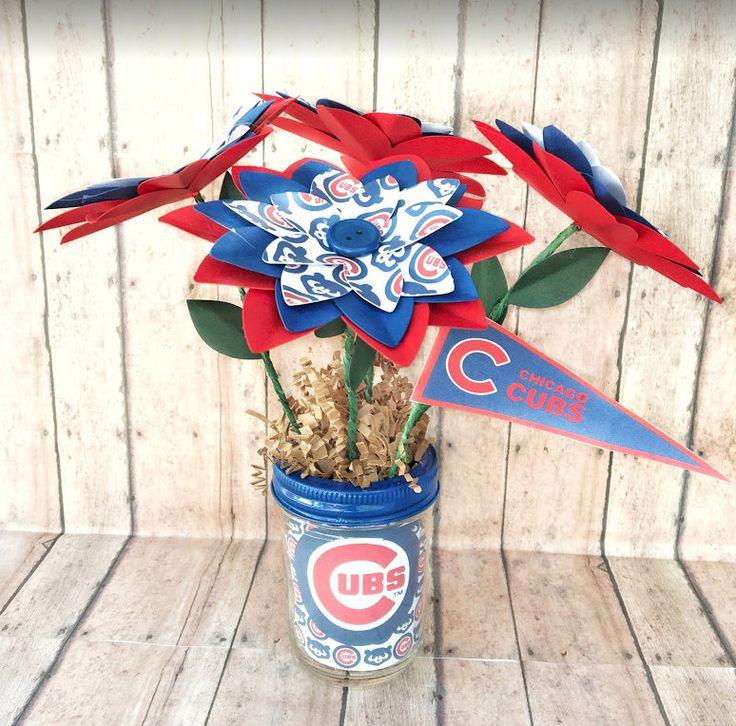 Chicago cubs paper flower bouquet paper flowers paper