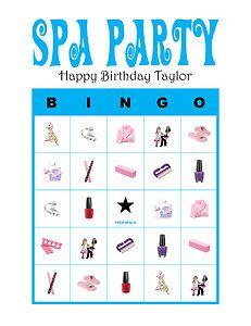 Personalized Spa Party Girl Birthday Party Bingo Game