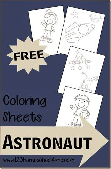 FREE Astronaut,  Space coloring pages! These are super cute coloring sheets for toddler, preschool, kindergarten or older. Easy activity to use with many themes.