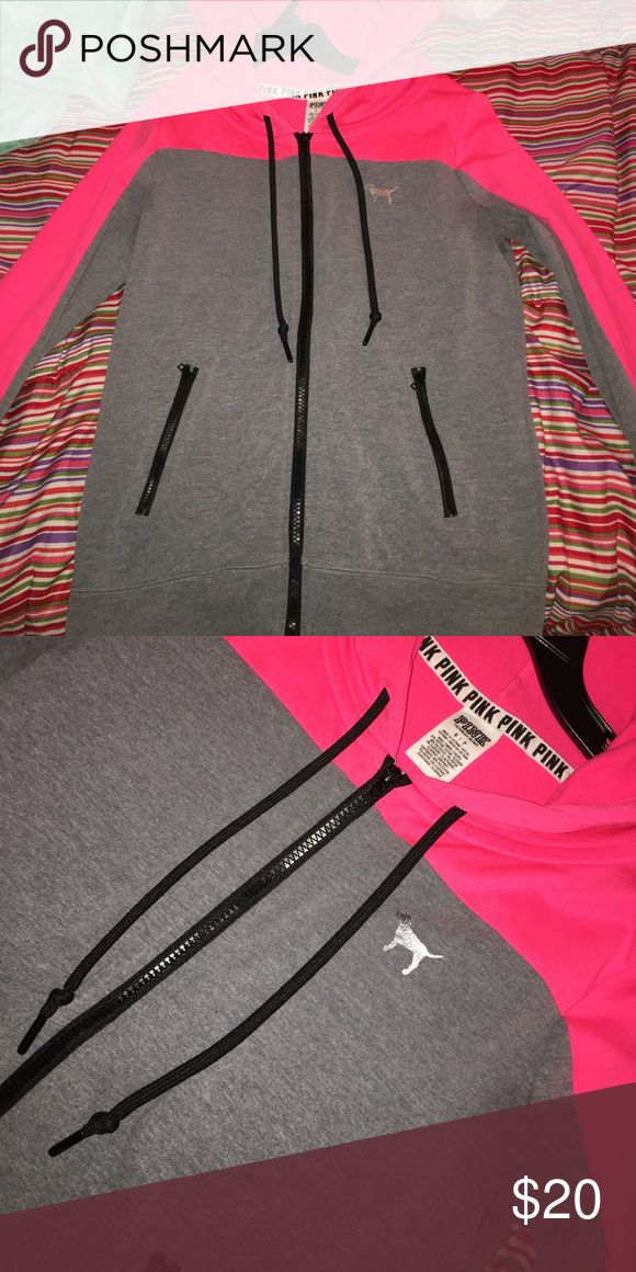 Victoria's Secret PINK Zip-up hoodie Neon pink and grey PINK zip up hoodie with zipper pockets, super cozy, comfy & cute! In perfect condition. PINK Victoria's Secret Tops Sweatshirts & Hoodies