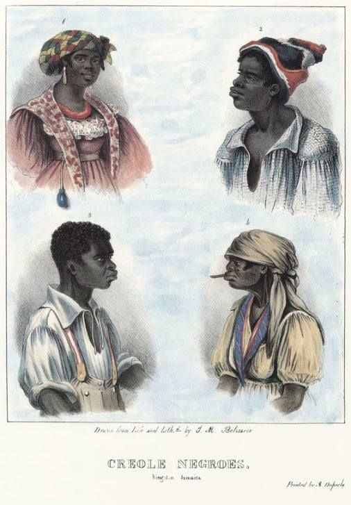 Creole Men and Women, Jamaica, 1838 illustration of the habits, occupation, and costume of the Negro population, in the island of Jamaica: drawn after nature, and in lithography.
