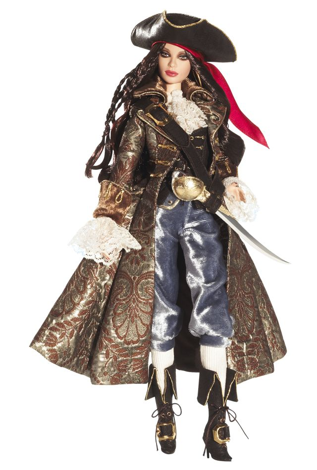 Pirate Barbie® is a real treasure in this arresting example of swashbucklin' style. Dressed in a beautiful brocade coat, velvet breeches, and plenty of ruffles and lace, our stylish captain is ready to take on the raging sea.