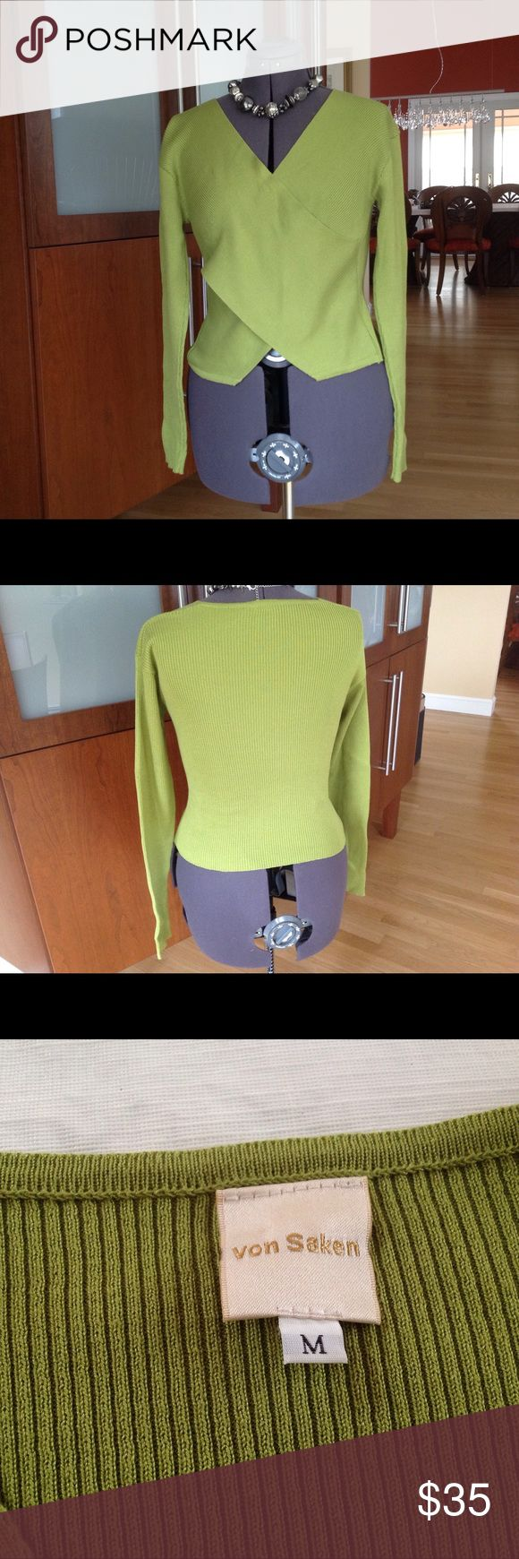 Lime green crossover, v- neck cotton sweater This stylish, long sleeve, ribbed sweater s perfect for a cool summer evening.   Lots of detail and perfect with dressy or casual pants. von saken Sweaters V-Necks
