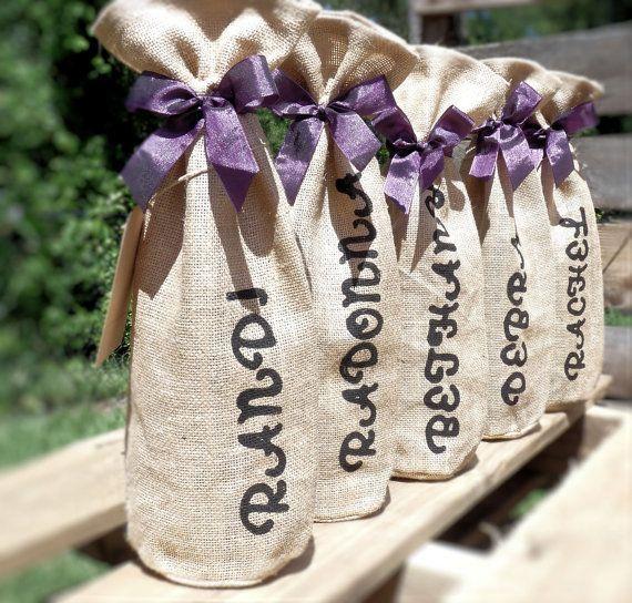 Personalized Burlap Wine Bags - Quantity of 7