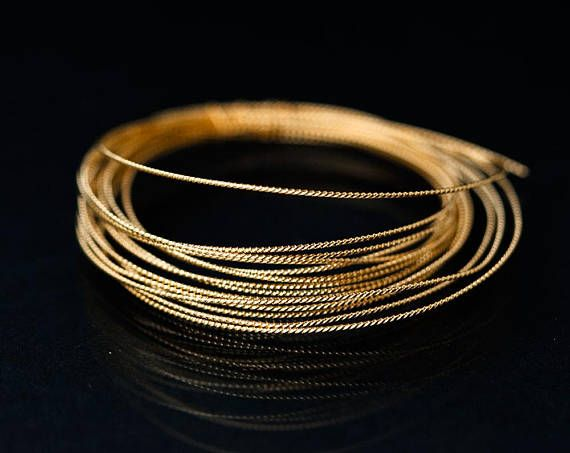 2667_ Gold twisted wire 21 gauge, Wire 0.7 mm, Half hard wire, Jewelry wire, Round wire for jewelry, Brass craft wire, Gold plated wire_2 m.