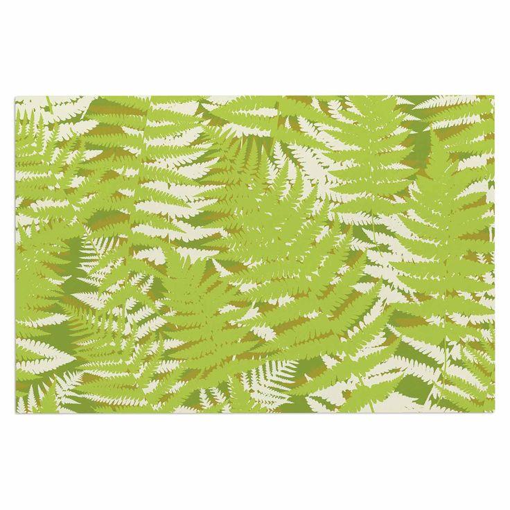 "Jacqueline Milton ""Fun Fern - Green"" Green Floral Decorative Door Mat"