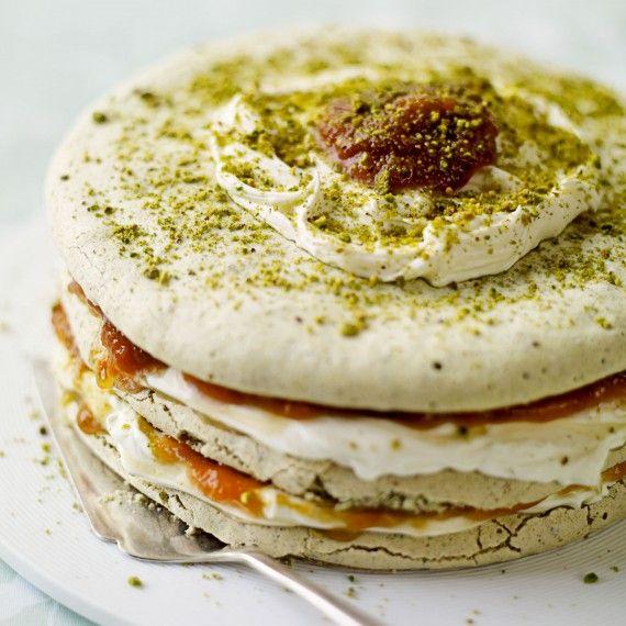 Pistachio Meringue and Apricot Layer Cake