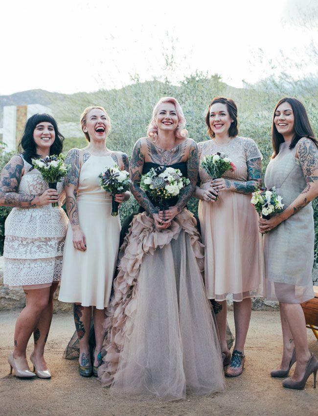 Vera Wang wedding dress + mismatched neutral bridesmaid dresses