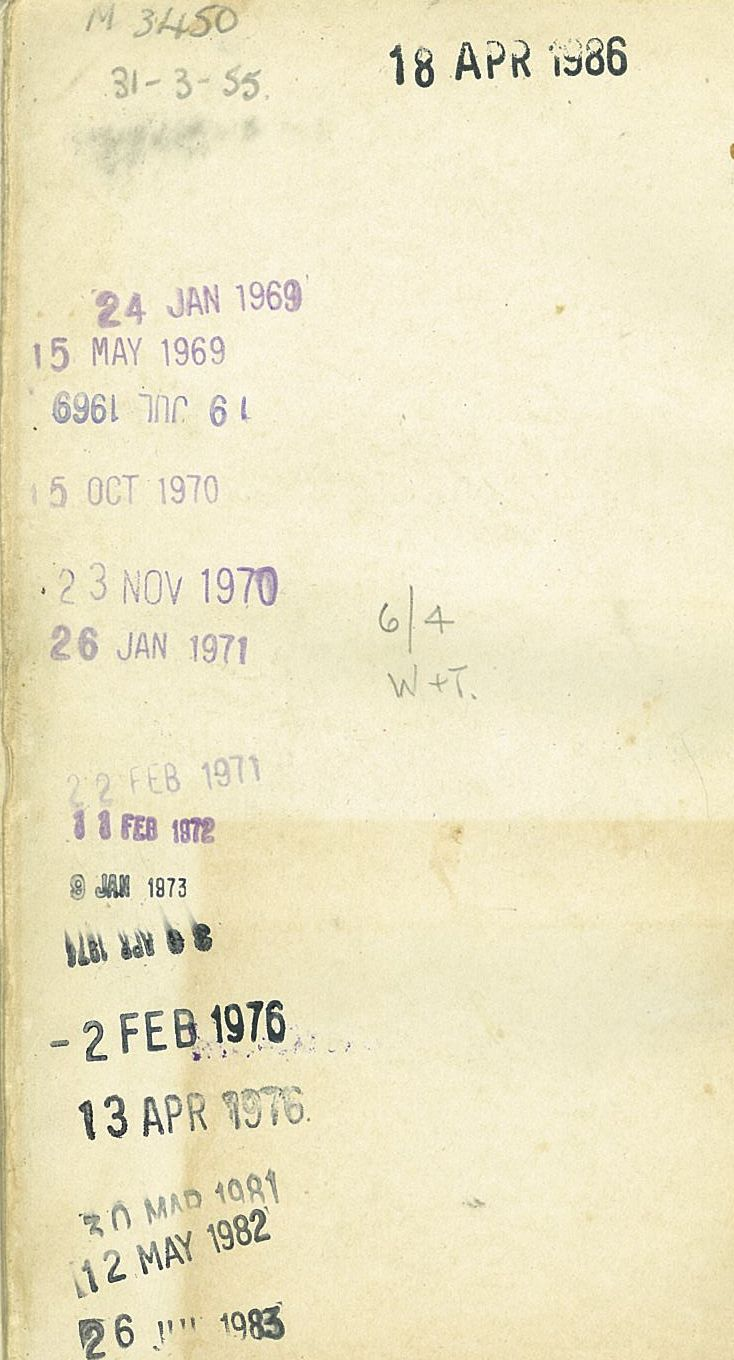 The journey of a Wellington Public Library book from 1955 to 1986