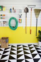 Make A Patterned Floor With Linoleum Tile - A Beautiful Mess [ this would be a cool solution for a closet, small bathroom, etc. Not terribly permanent, but definitely cool. ]