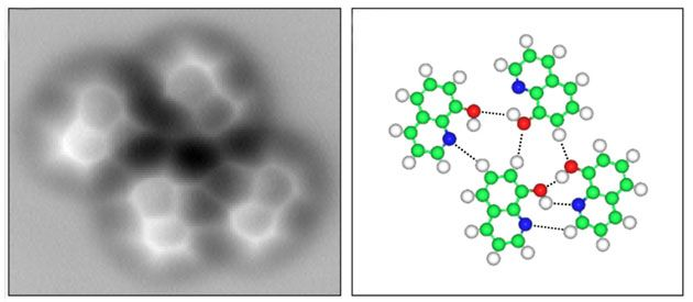 Researchers in China report the first visualization of a hydrogen bond using atomic force microscopy (AFM).