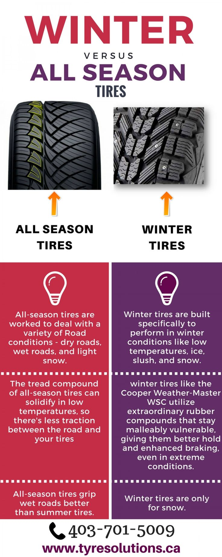 Difference between Winter and All Season Tires Infographic