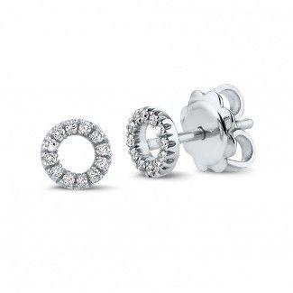 Pendientes de Diamantes en Oro Blanco - Pendientes OO en oro blanco con pequeños diamantes redondos