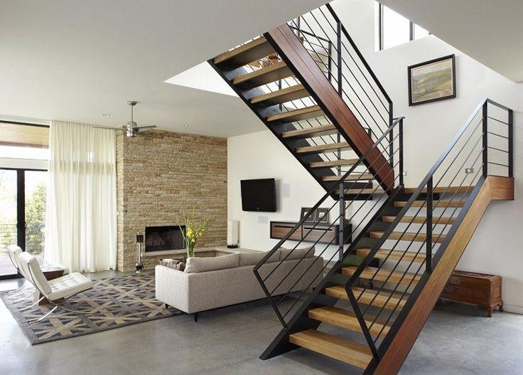 diseño de salón con escaleras de madera