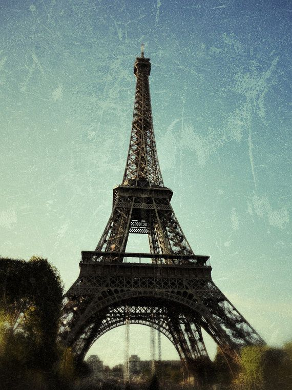 Dreamy And Classic Boxwood Gardens: Paris Photography Eiffel Tower Vintage Looking Pastel