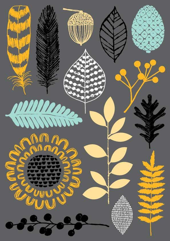 printmaking, design, illustration, nature, drawing, leaves, flowers, feathers, plant matter, lino