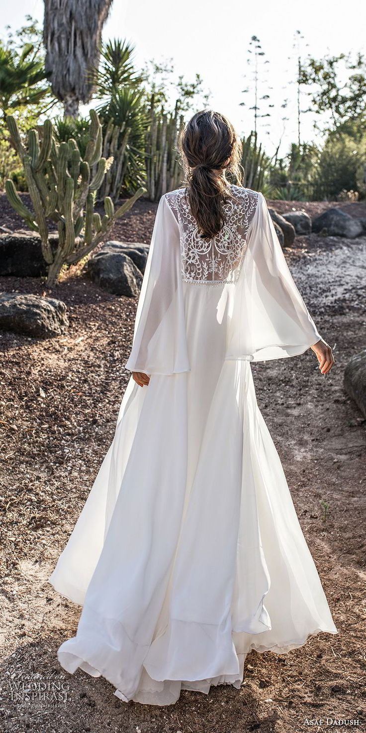 asaf dadush 2018 bridal long sleeves deep plunging sweetheart neckline heavily embellished bodice high slit skirt soft a line wedding dress covered lace back sweep train (4) bv