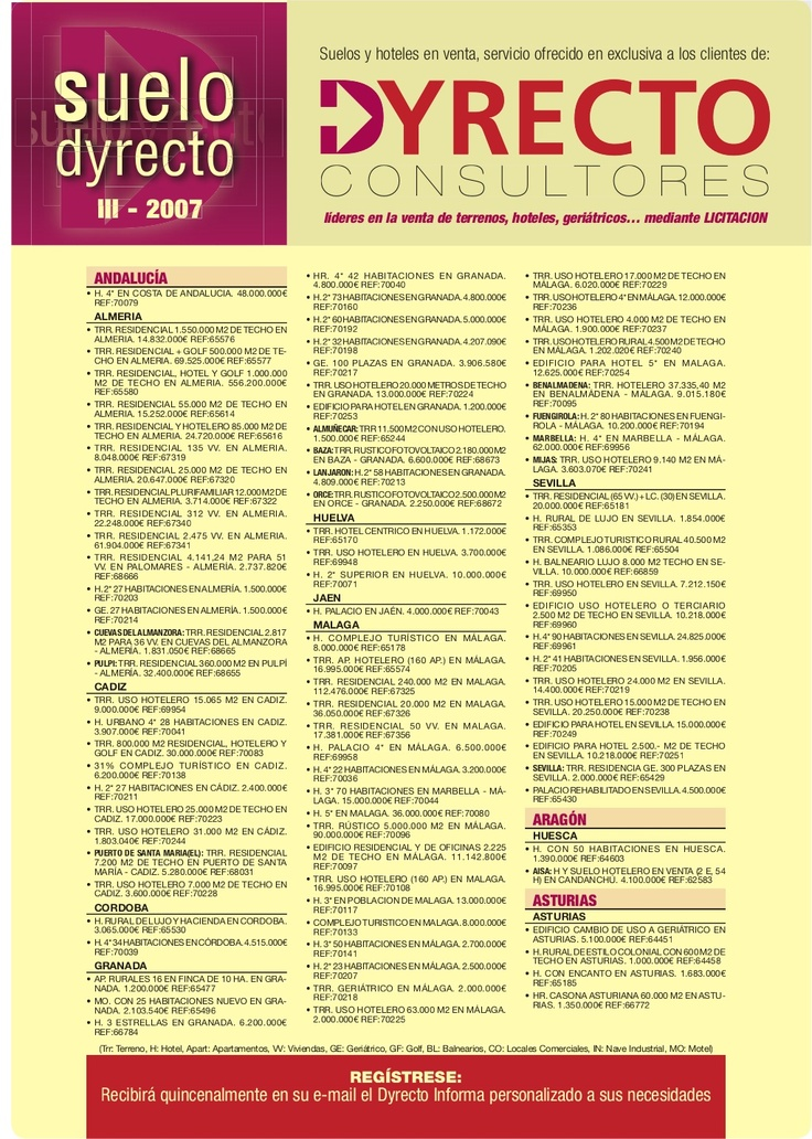 boletin-2007 venta de suelo, hoteles, golf, geriátricos...