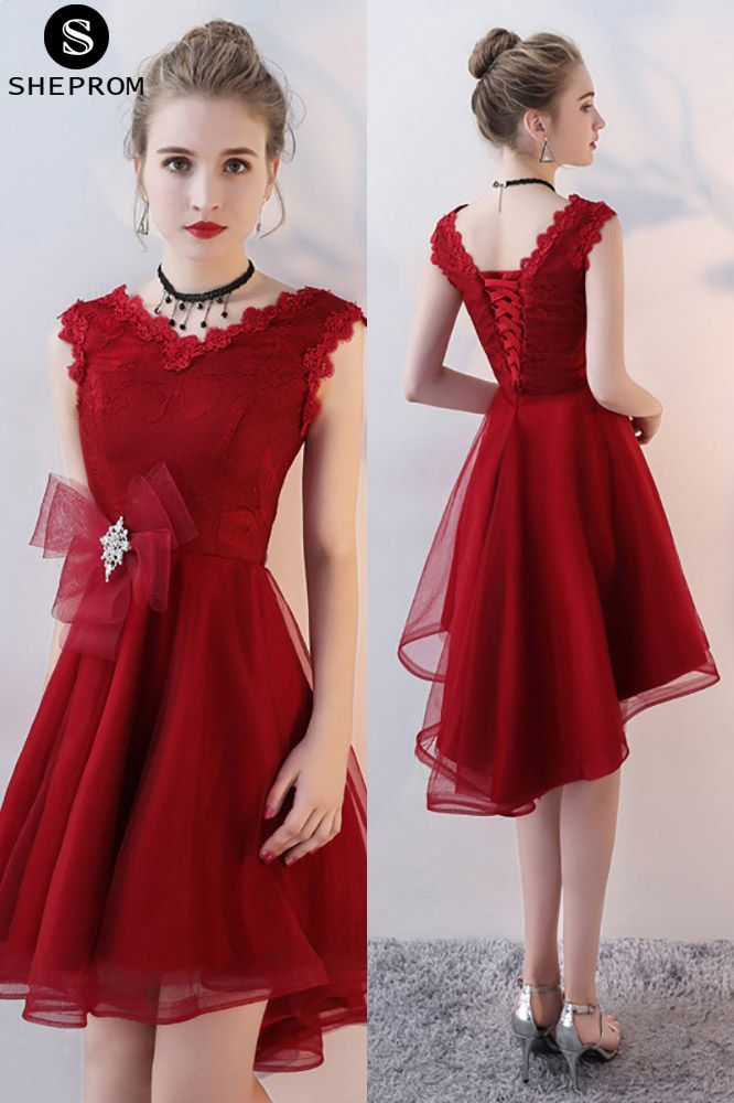 0c94814968a Burgundy Short Homecoming Dress V-neck with Ruffles -  69.3 ...