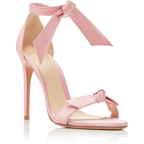 Alexandre Birman M'O Exclusive Clarita Satin Sandals (£455) ❤ liked on Polyvore featuring shoes, sandals, heels, sapatos, pink, ankle strap heel sandals, pink shoes, ankle wrap sandals, heeled sandals and adjustable heel shoes