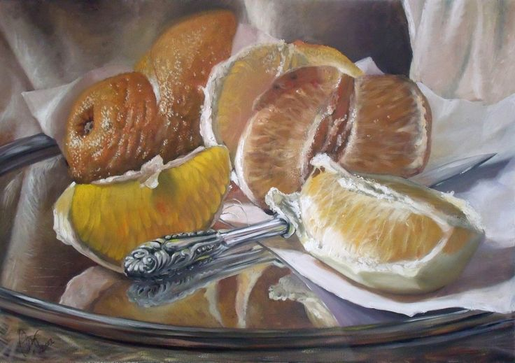 """One from my recent paintings - """"Oranges and Knife"""", oil on canvas. You can find StudioDaf for other works :)"""