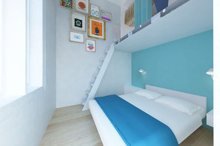 Arredare in verticale. Guardaroba a soppalco per stanza piccola ma dai soffitti alti http://maydaycasa.com/2014/11/28/usare-lo-spazio-in-verticale/