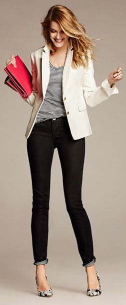 striped tee, white blazer, skinny jeans