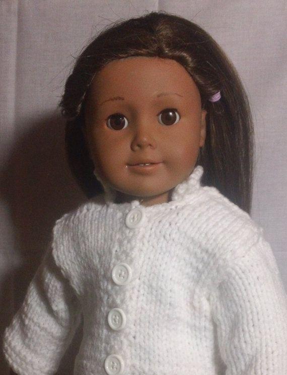 White Button up Cardigan  fits 18 inch dolls by threestarscustom