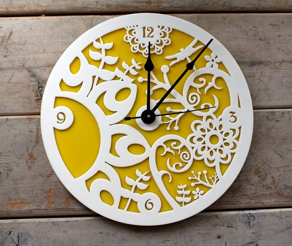 yellow floral clock. love this