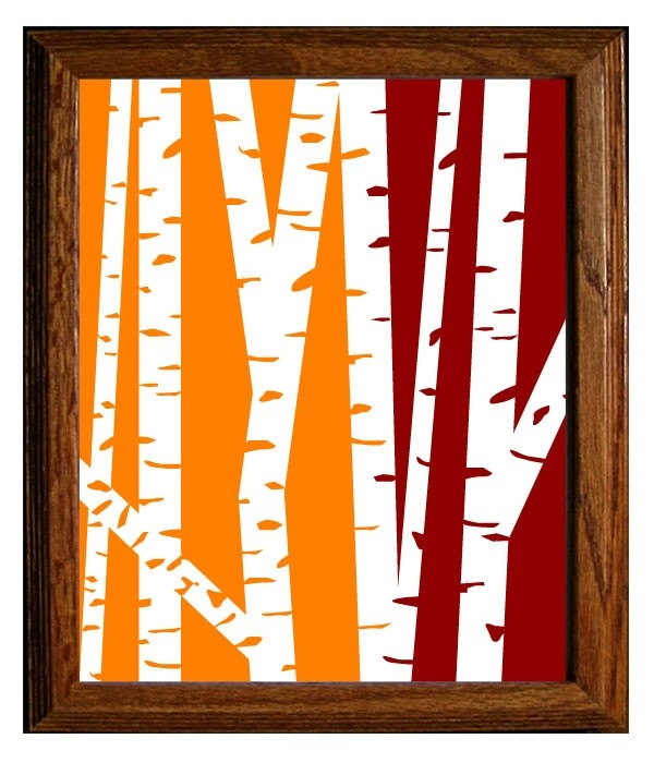Decorate your room or house with an orange and maroon painting.Ideas, Trees Green, Birches Trees, Colors, Art Prints,  Ruler, Modern Birches, Master Bedrooms, Rules