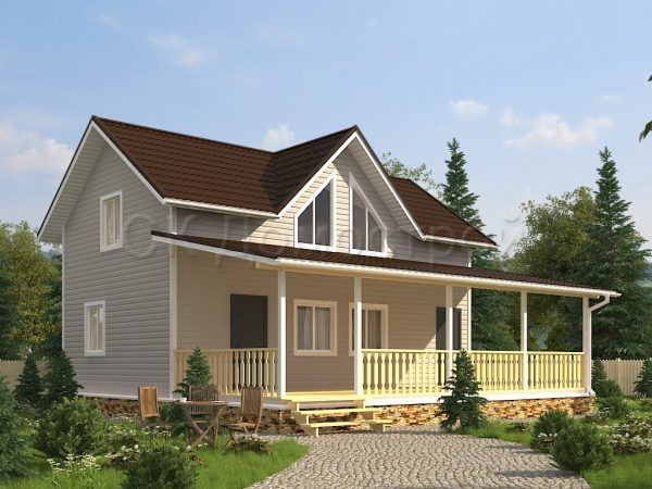Проект дома с открытой верандой