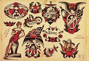 "Amazon.com: Sailor Jerry Tattoo Art Flash #9 13x19"" Photo Print: Posters & Prints"