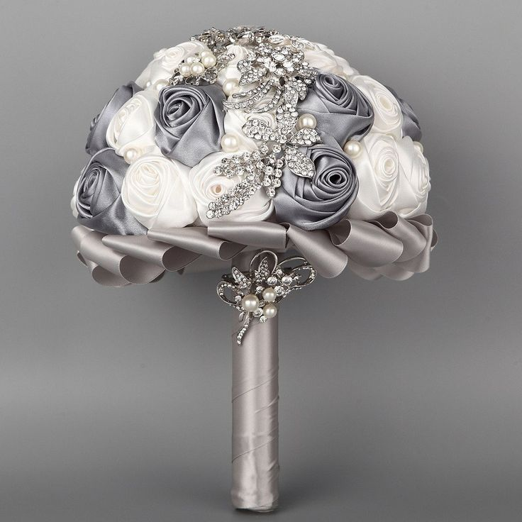 Amazon.com - FAYBOX Hand Made Satin Rose Flowers a Row Rhinestone Brooch Bridal Wedding Bouquet Grey and White -