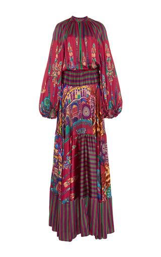Silk printed milwaukee bell sleeved maxi dress  by STELLA JEAN Now Available on Moda Operandi