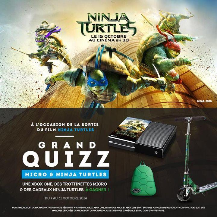 Un beau concours chez Micro France avec une Xbox One et 9 lots Tortues Ninjas à gagner!!!  c'est par ici pour les réponses au quizz:  http://www.addictsauxconcours.com/t5575-0710-micro-france-1-console-xbox-one-et-9-lots-tortues-ninjas-a-gagner-dlp-31-10-2014#16273