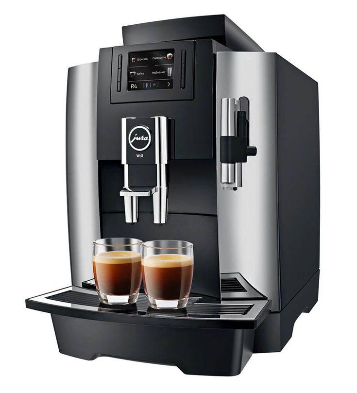Profesjonalny, automatyczny ekspres do kawy WE8wyprodukowany przez firmę Jura. Ten innowacyjny model doskonale sprawdzi się w średniej wielkości biurze.