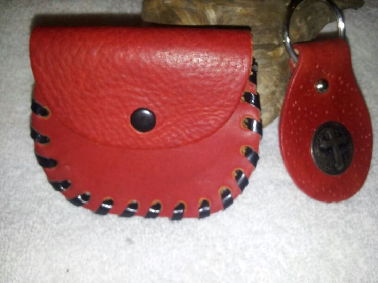 As a set $25. This scarlet red pouch and key fob is sold as a set so you can save yourself some money. The pouch  is 3-3/4 in. x 3 in. This metal concho on the fob happens to have a cross but there are many conchos to choose from.