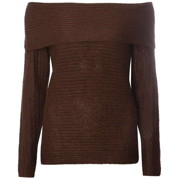 Dorothy Perkins Chocolate Bardot Jumper ($44) ❤ liked on Polyvore featuring tops, sweaters, brown, brown tops, acrylic sweater, off shoulder sweater, brown sweater and chocolate brown sweater
