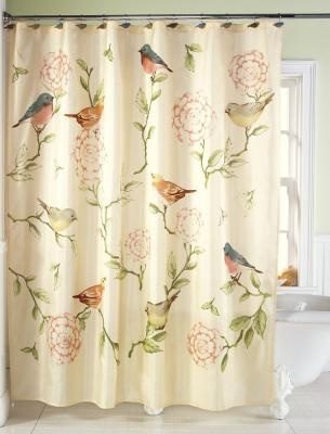 thinks this birds and blooms floral shower curtain is too cute