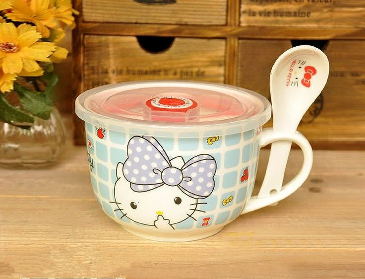 Hello Kitty Cartoon Ceramic Soup Bowl With Handle With