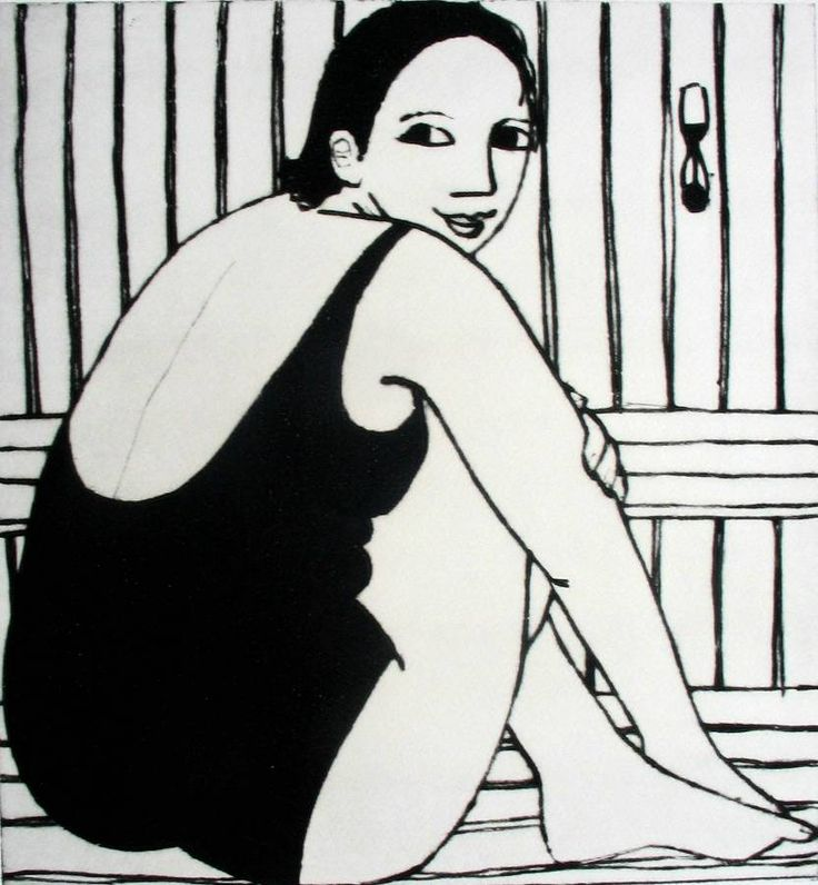 In the Sauna by Anita Klein there is so much I love about this piece, composition, the honesty, fuller figured women, the line and expression. True art.