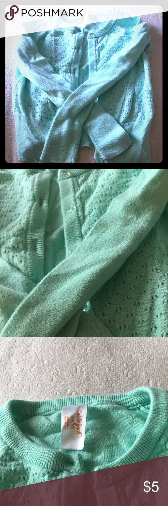 Girls teal cardigan size 6/6x Girls teal cardigan GUC worn once , teal size 6/6x Cat & Jack Shirts & Tops
